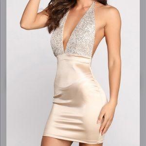 satin & sequin halter mini dress